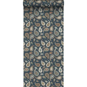 behang paisley donkerblauw, beige en mintgroen