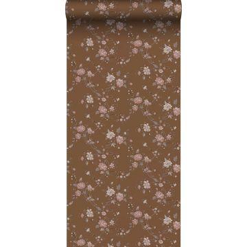 behang bloemetjes roest bruin en roze