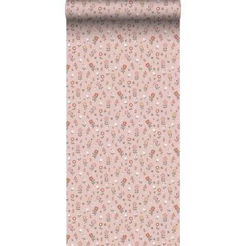behang bloemetjes zacht roze