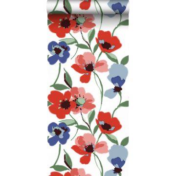 behang klaprozen rood, blauw en groen