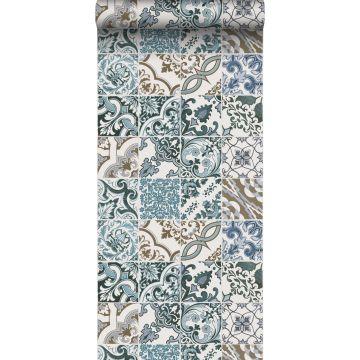 behang tegelmotief blauw en beige