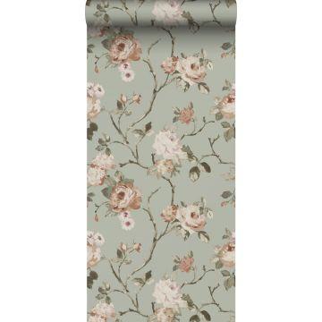 behang vintage bloemen vergrijsd mintgroen en zacht roze