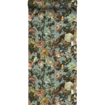 behang bloemen vergrijsd blauw