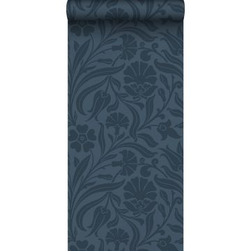 behang bloemen donkerblauw