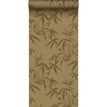 behang bamboe bladeren okergeel