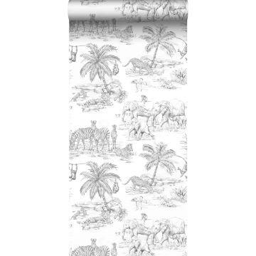 behang jungle-motief zwart wit