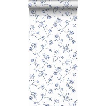behang toile de jouy rozen wit en blauw