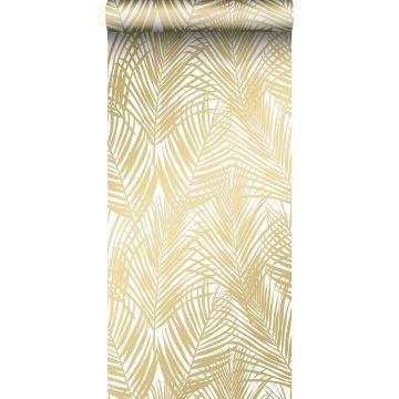 behang palmbladeren goud en wit