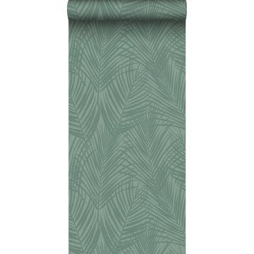 behang palmbladeren vergrijsd groen