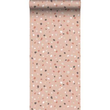 behang terrazzo zacht roze, wit en grijs