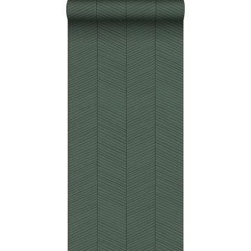 behang visgraat-motief groen en zwart
