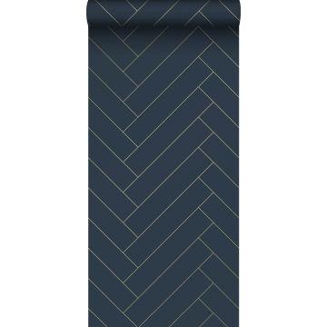 behang visgraat-motief donkerblauw en goud