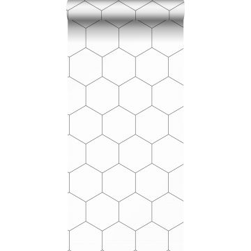 behang hexagon zwart wit