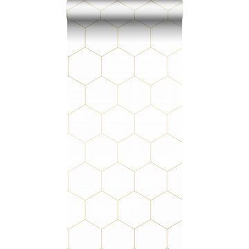behang hexagon wit en goud