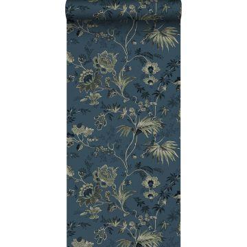 behang vintage bloemen donkerblauw en olijfgroen