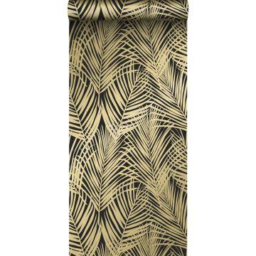behang palmbladeren zwart en goud