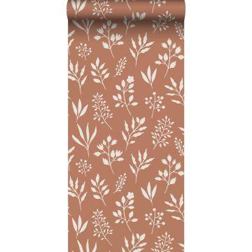 behang bloemmotief in Scandinavische stijl terracotta en wit