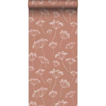 behang schermbloemen terracotta en wit