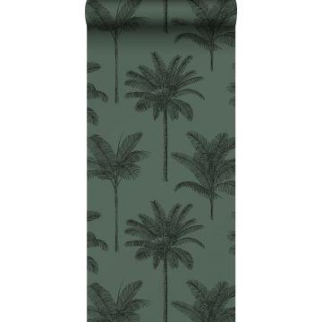 behang palmbomen donkergroen