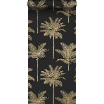 behang palmbomen zwart en goud