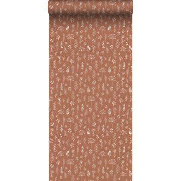 behang bloemmotief terracotta en wit
