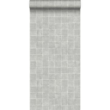 behang tegelmotief grijs