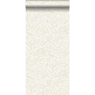 behang bloemen beige op wit