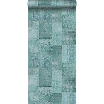behang kelim patchwork aqua groen