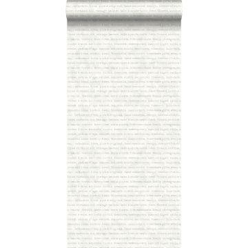 behang tekst grijs op witte gemeleerde achtergrond