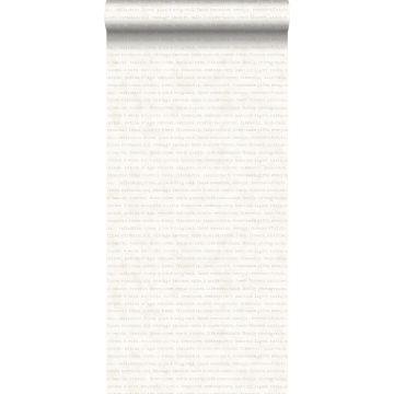 behang tekst beige op wit gemeleerde achtergrond