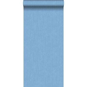 behang denim structuur blauw