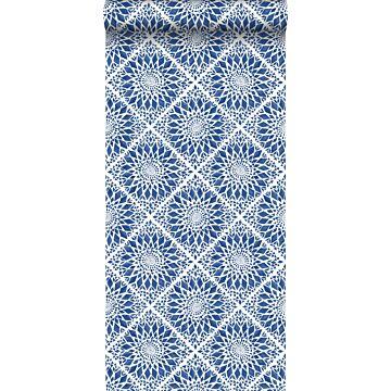 behang tegelmotief donkerblauw