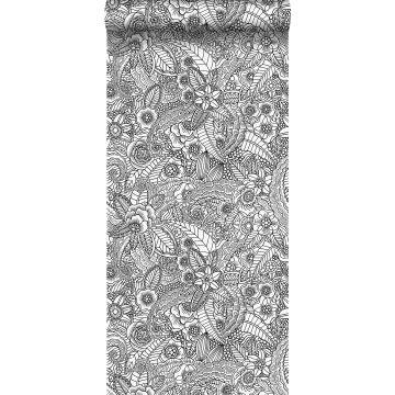 behang bloemtekeningen zwart en wit
