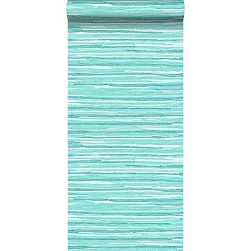 behang geweven motief turquoise