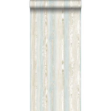 behang hout motief lichtblauw en beige