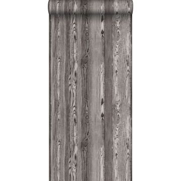 behang hout motief bruin