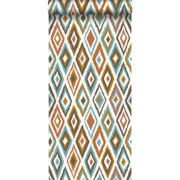 behang ikat motief bruin en vintage blauw