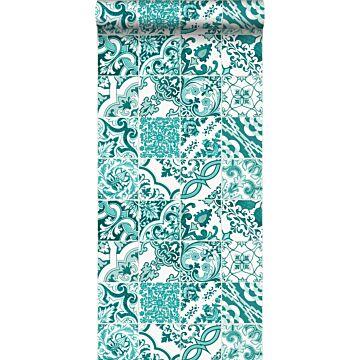 behang tegelmotief turquoise
