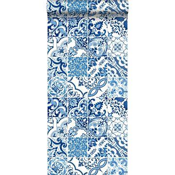 behang tegelmotief blauw