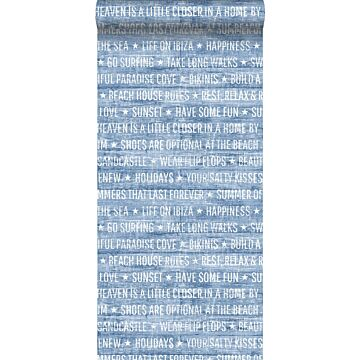 behang zomerse quotes blauw