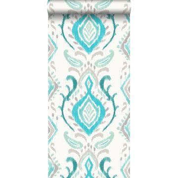 behang barokprint turquoise