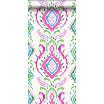 behang barokprint groen en roze