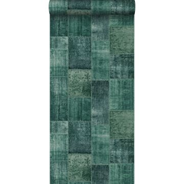 behang Marrakech kelim patchwork tapijt smaragdgroen