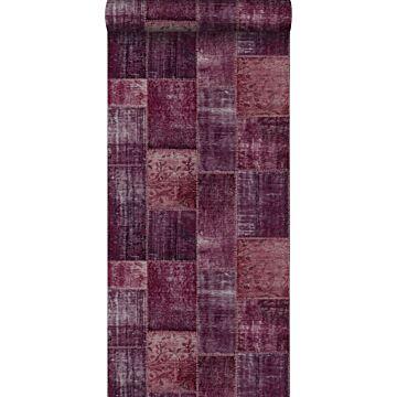 behang Marrakech kelim patchwork tapijt bordeaux rood