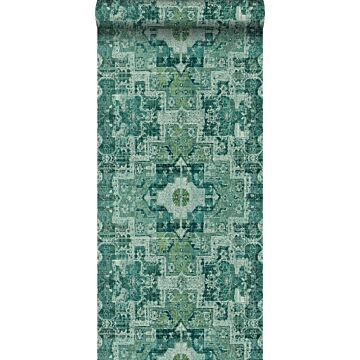 behang oosters kelim tapijt smaragdgroen
