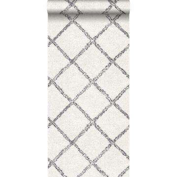behang oosters berber tapijt zwart en mat wit
