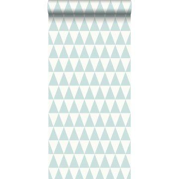 behang grafisch geometrische driehoeken vergrijsd mintgroen en mat wit