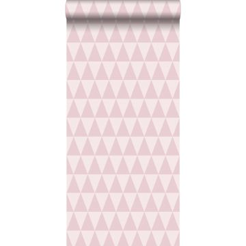 behang grafisch geometrische driehoeken lila roze