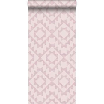 behang Marrakech aztec tapijt lila roze