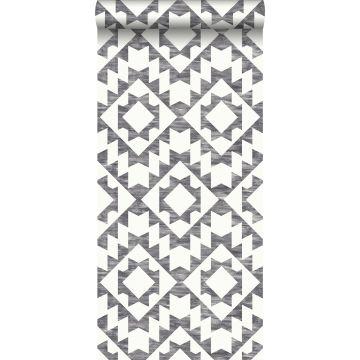 behang Marrakech aztec tapijt zwart en mat wit